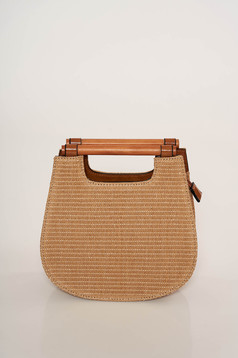 Zipper fastening bag wooden handles