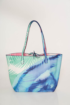Lightblue bag casual medium handles with floral print ribbon fastening