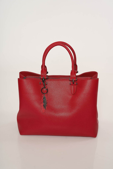 Red bag office from ecological leather short handles