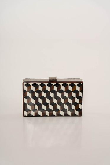 Black elegant bag with geometrical print long chain handle