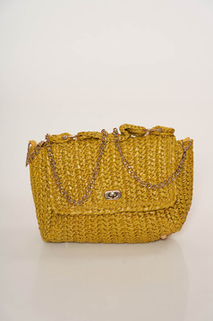 Mustard bag casual from braided fabric long chain handle