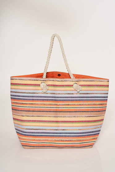 Orange bag beach wear with stripes medium handles