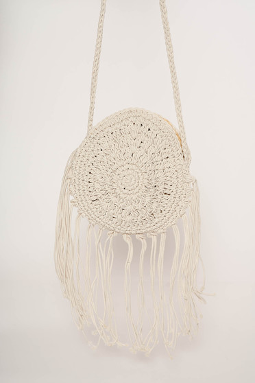 Nude bag casual with fringes includes a long handle thick fabric