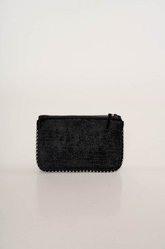 Black bag elegant velvet snake print long chain handle