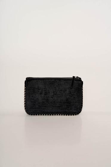 Black bag elegant velvet snake print long chain handle