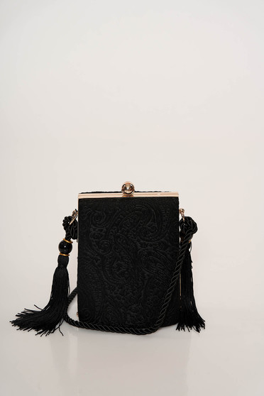 Black bag occasional laced long, adjustable handle with tassels