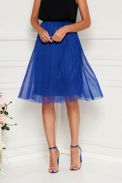 Blue skirt casual with elastic waist midi from tulle