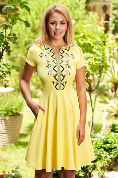 Yellow dress daily short cut cloche with front pockets short sleeves scuba