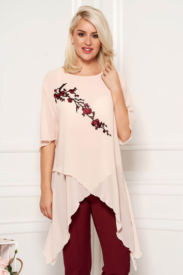 Peach elegant flared asymmetrical women`s blouse from veil fabric front embroidery