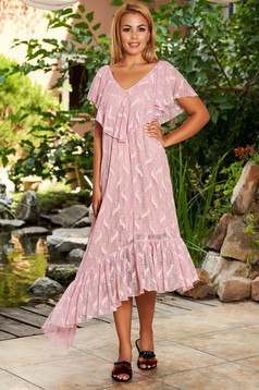 StarShinerS lightpink dress daily midi asymmetrical flared laced frilly trim around cleavage line