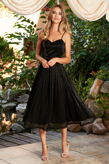 Black dress occasional midi cloche with straps from veil fabric with push-up bra