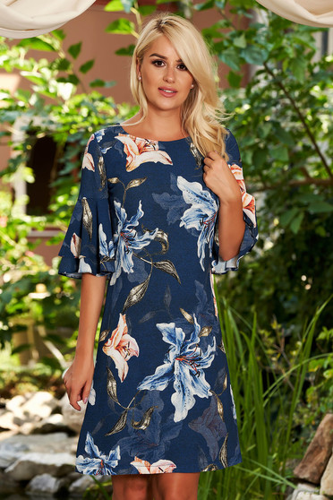 Darkblue dress daily straight short cut bell sleeves with pockets