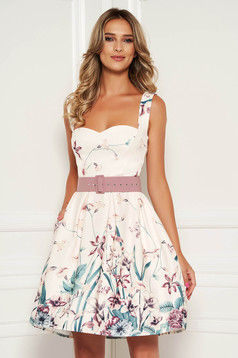 StarShinerS ivory dress daily short cut cloche with pockets with straps scuba with floral print