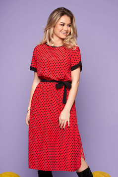 StarShinerS red dress daily cloche dots print detachable cord short sleeves