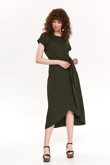 Khaki dress casual midi asymmetrical accessorized with tied waistband neckline