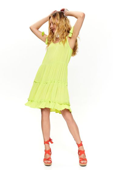 Yellow dress casual midi cloche with straps ribbon fastening with deep cleavage