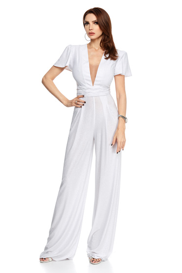 White jumpsuit occasional with deep cleavage with butterfly sleeves flared long