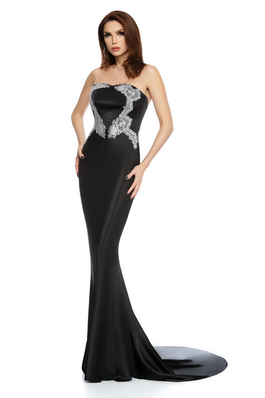 Black dress occasional mermaid cut from satin long