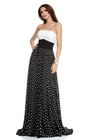 Black skirt occasional long cloche from veil fabric dots print