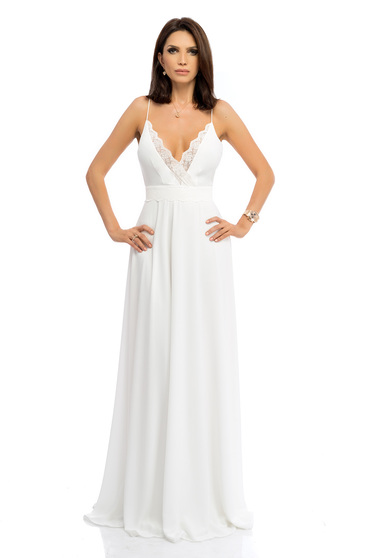 Maxi long cloche white dress with straps and lace details