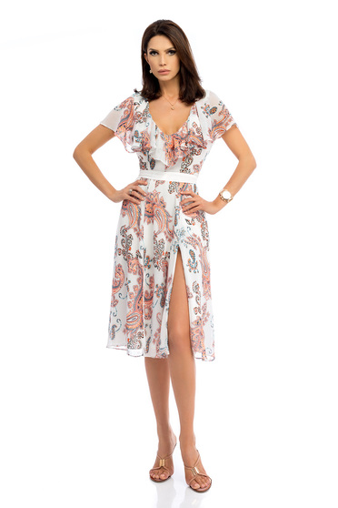 Daily midi cloche white dress from veil fabric with deep cleavage cut with graphic details