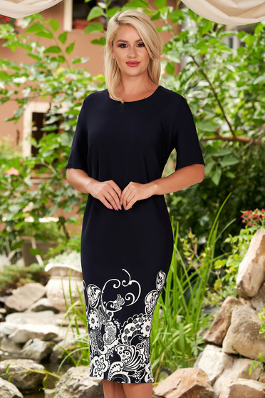 Darkblue dress daily midi straight from striped fabric short sleeves