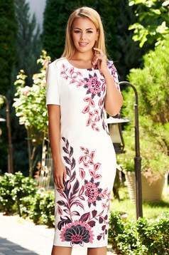 Ivory dress daily straight midi short sleeves neckline with floral print