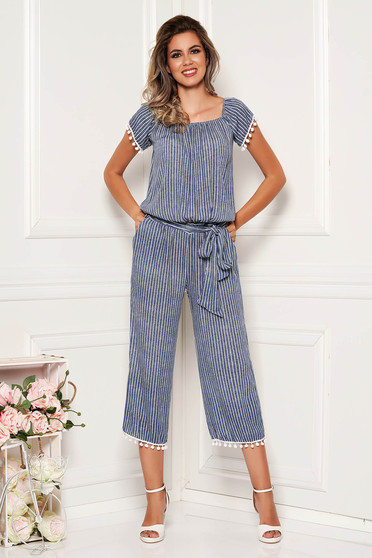 Darkblue jumpsuit with stripes with tassels casual flared naked shoulders