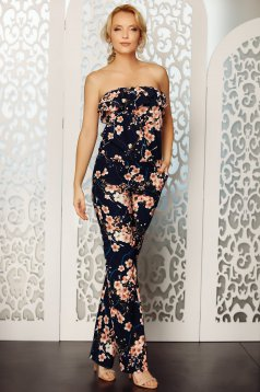 Darkblue jumpsuit with floral print