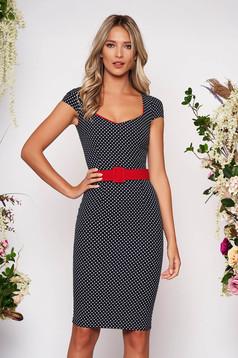 Darkblue dress elegant pencil dots print with deep cleavage midi