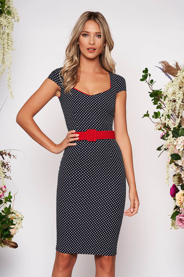 Darkblue dress elegant pencil dots print with deep cleavage midi
