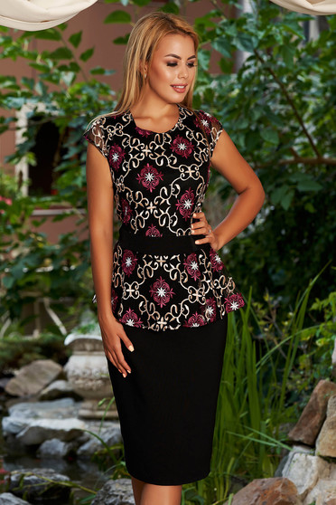 Black dress occasional midi pencil peplum with rounded cleavage