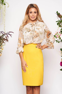 Pencil midi yellow elegant dress with 3/4 sleeves with floral print from veil fabric