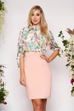 Lightpink elegant daily pencil dress with 3/4 sleeves with floral prints