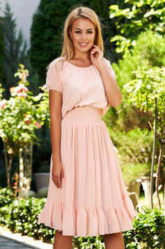 Peach dress daily midi cloche from veil fabric pressure-free border elastic held sleeves