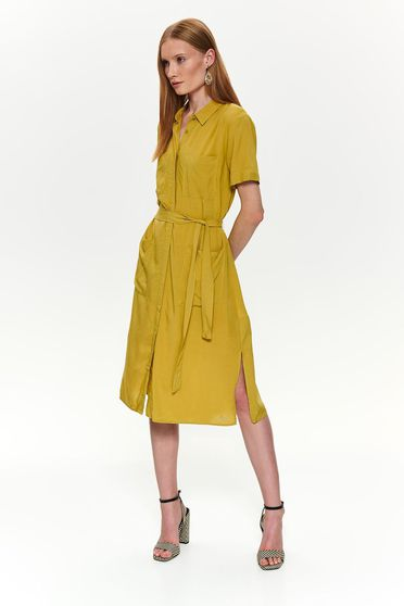 Yellow dress casual midi cloche accessorized with tied waistband with front pockets