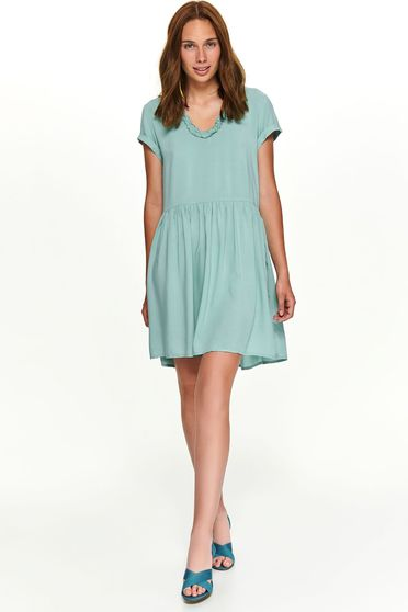 Turquoise dress casual short cut flared with rounded cleavage short sleeves