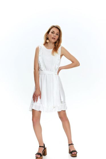 White dress casual short cut cloche sleeveless neckline accessorized with tied waistband