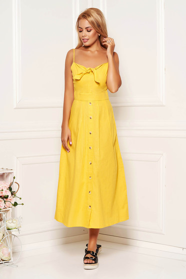 Yellow dress daily midi cotton linen without clothing adjustable straps