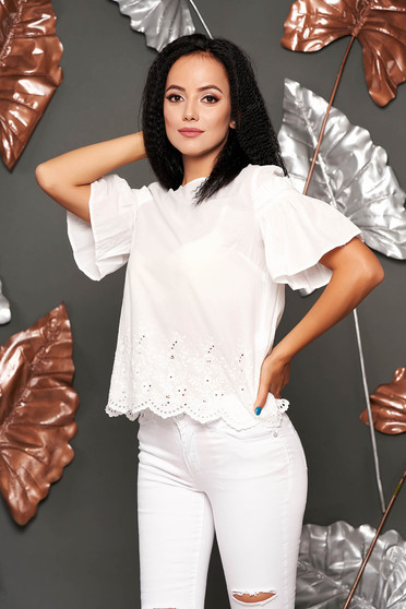 White women`s blouse casual flared cotton with lace details