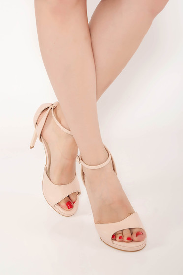 Sandals nude elegant natural leather with high heels