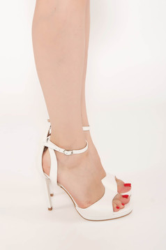 Sandals white elegant natural leather with high heels