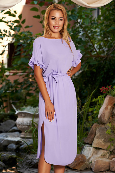 StarShinerS purple dress daily straight midi from veil fabric with ruffled sleeves with elastic waist