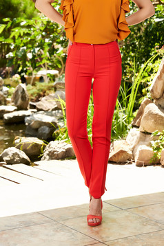 Coral trousers office with medium waist conical slightly elastic fabric with faux pockets
