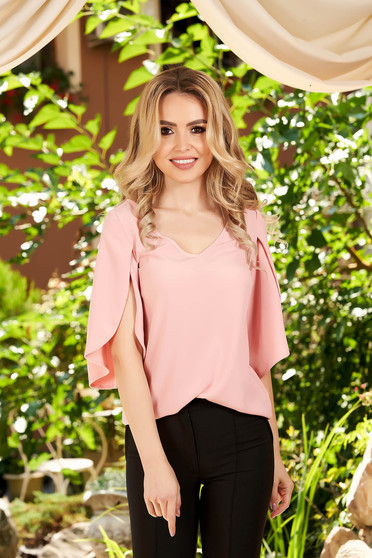 Lightpink women`s blouse casual flared with v-neckline with cut-out sleeves