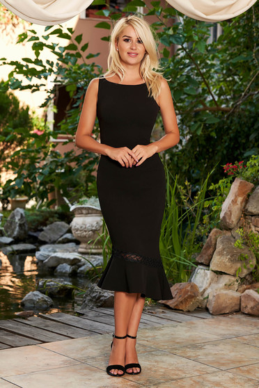 StarShinerS black dress elegant daily midi pencil asymmetrical sleeveless with rounded cleavage