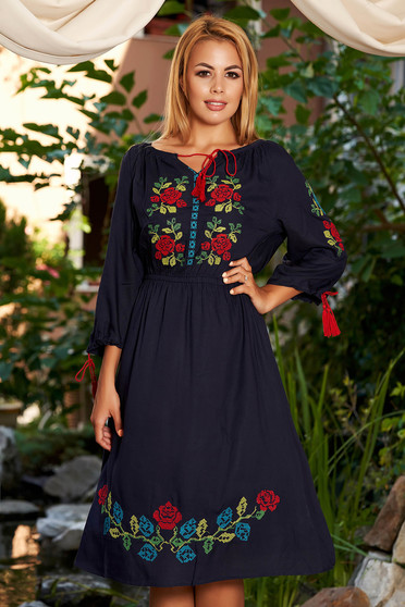 Darkblue daily cloche dress with elastic waist front embroidery
