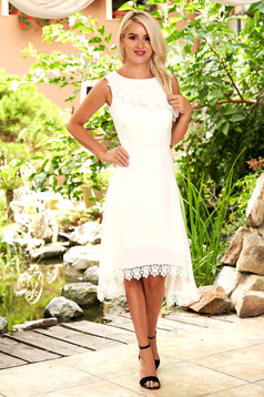 StarShinerS ivory dress elegant occasional midi asymmetrical with rounded cleavage sleeveless