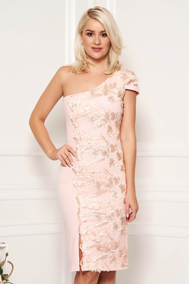 Peach dress occasional elegant short cut pencil with push-up cups one shoulder