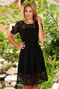 Black dress elegant daily cloche with lace details neckline
